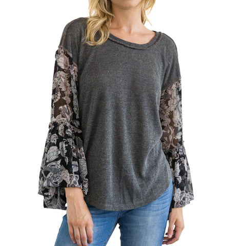 Mystree Grey Charcoal Floral Print Chiffon Bell Sleeve Top Savvy Chic Boutique Cleveland Ohio