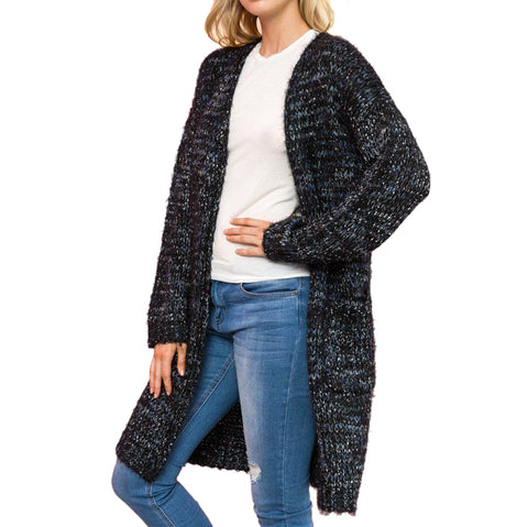 Mystree Chunky Knit Black Blue Cardigan Sweater Savvy Chic Boutique Cleveland Ohio
