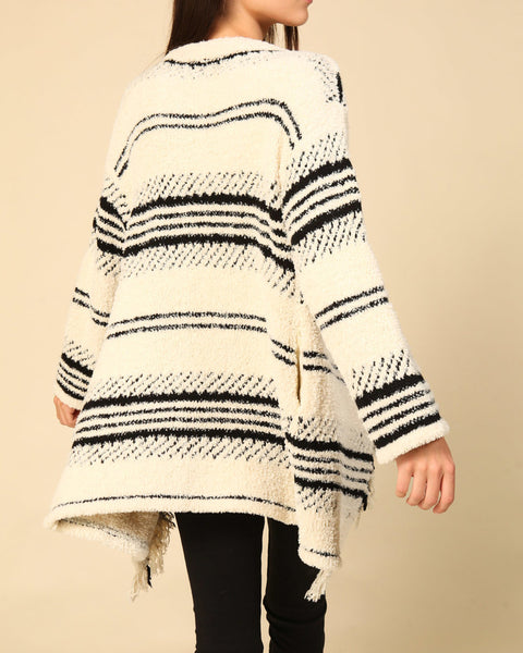 Timing Ivory Cream Black Stripe Pattern Soft Knit Fringe Long Open Cardigan Sweater Savvy Chic Boutique Cleveland Ohio