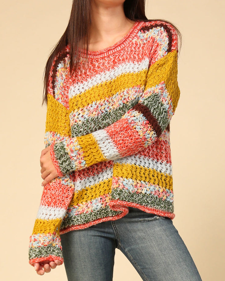Timing Rainbow Colorful Stripe Knit Long Sleeve Pullover Sweater Savvy Chic Boutique Cleveland Ohio