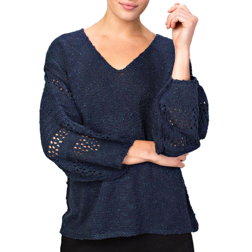 Llove Navy Blue Bubble Sleeve Open Knit V Neck Pullover Sweater Savvy Chic Boutique Cleveland Ohio