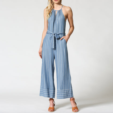 Fate Denim Tencel Pinstripe Tie Waist Wide Leg Jumpsuit Savvy Chic Boutique Cleveland Ohio
