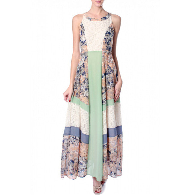 Mint Ivory Lace Print Color Block Maxi Dress