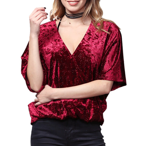 By Together Burgundy Velvet Glitter Short Sleeve Criss Cross V Neck Top Savvy Chic Boutique Cleveland Ohio