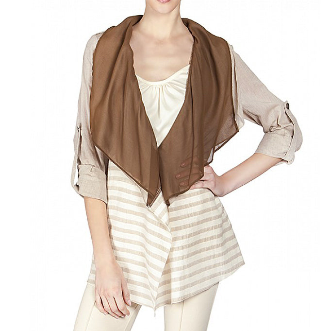 Ryu Brown Tan Beige Ivory Stripe Jacket Savvy Chic Boutique Cleveland Ohio