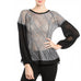 A'revs Grey Black Sheer Knit Pleated Swiss Dot Texture Long Sleeve Top Savvy Chic Boutique Cleveland Ohio