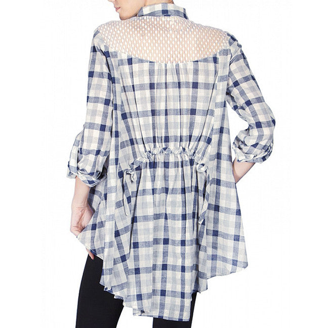 White Lace Navy Plaid Drawstring Top