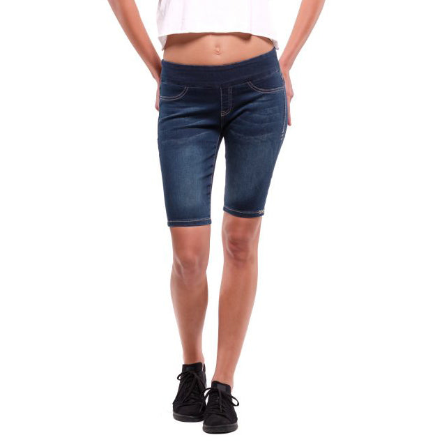 Rubberband Stretch Denim Penelope Pull On Bermuda Short Dark Wash Savvy Chic Boutique Ohio