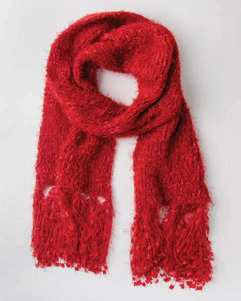 Red Soft Knit Fringe Holiday Christmas Winter Scarf Savvy Chic Boutique Cleveland Ohio