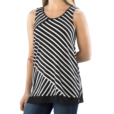 Black White Diagonal Stripe Tank Top Mesh Hemline