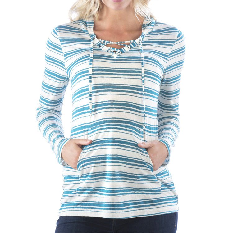 Turquoise Striped Lace Up Long Sleeve Hoodie