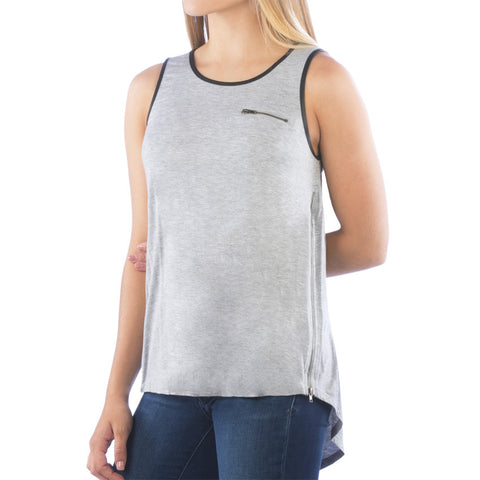 Zipper Detail Heather Grey Faux Leather Tank Top
