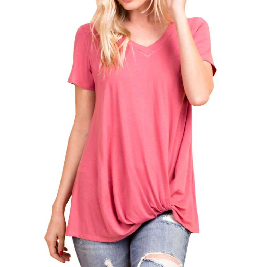 143 Story Pink Rose Tee Twist Hem V Neck Top Savvy Chic Boutique Cleveland Ohio