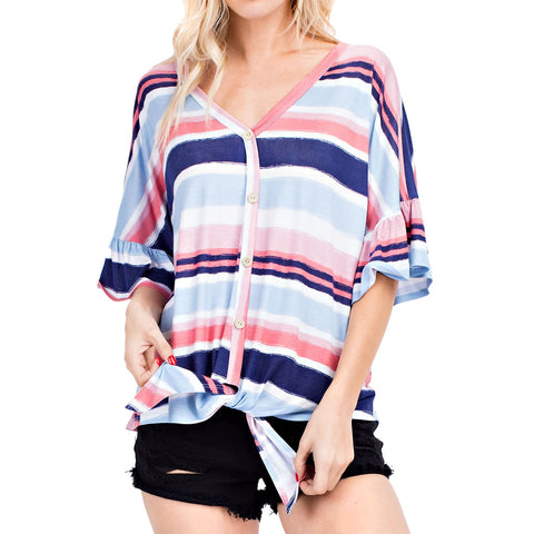 143 Story Stripe Pink Blue Button Down Tie Front Tee Shirt Top Savvy Chic Boutique Cleveland Ohio