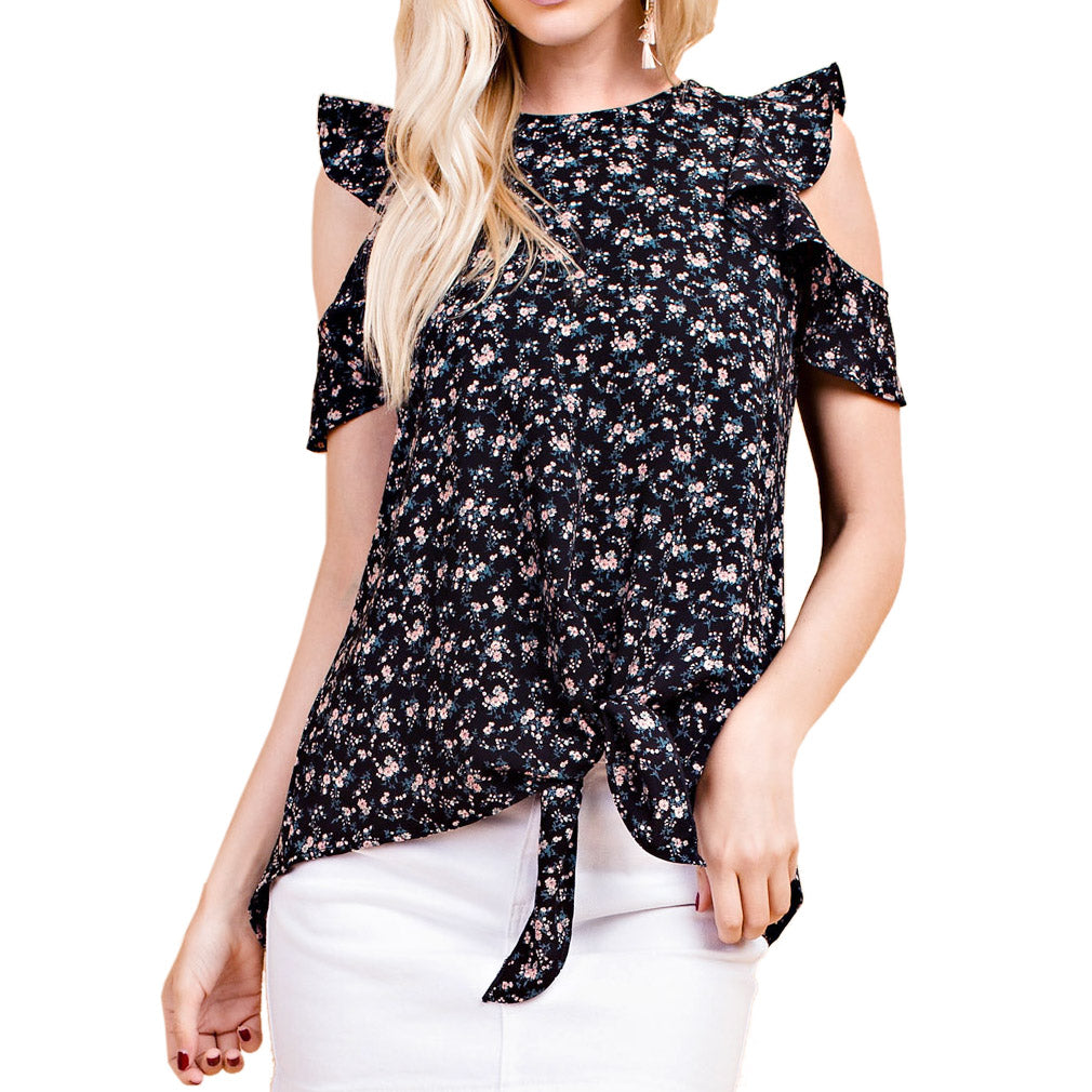 54c704b7c6f2d 143 Story Black Ditsy Floral Print Cold Shoulder Tie Front Top Savvy Chic  Boutique Cleveland Ohio