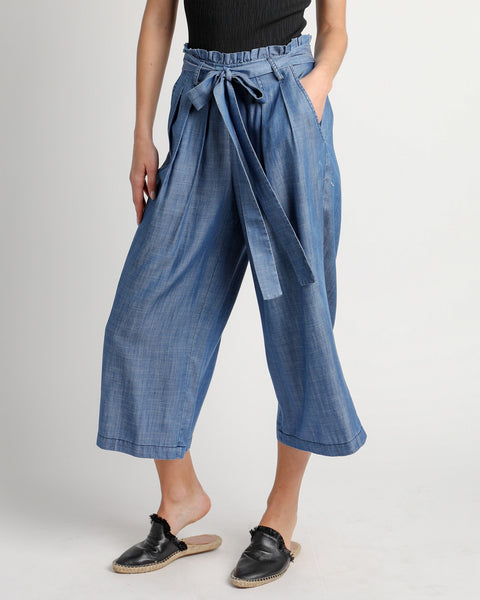 Current Air Chambray Blue Wide Leg Tie Paper Bag Cropped Pant Savvy Chic Boutique Cleveland Ohio