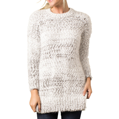 Simply Noelle Grey Ivory Boucle Knit Pullover Sweater Savvy Chic Boutique Cleveland Ohio