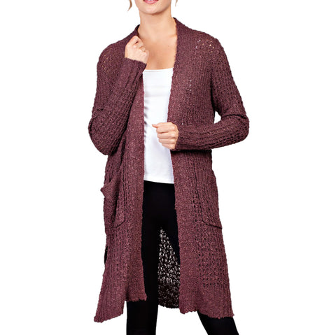 Llove Mauve Maroon Mesh Knit Long Pocket Cardigan Sweater Savvy Chic Boutique Cleveland Ohio