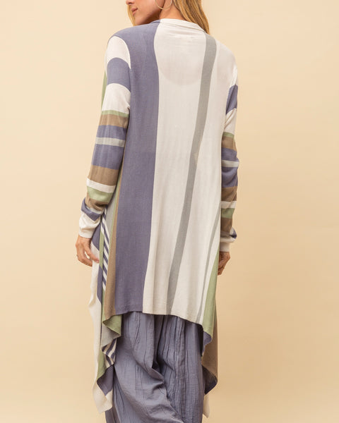 Green Blue White Taupe Stripe Drape Front Knit Lightweight Cardigan