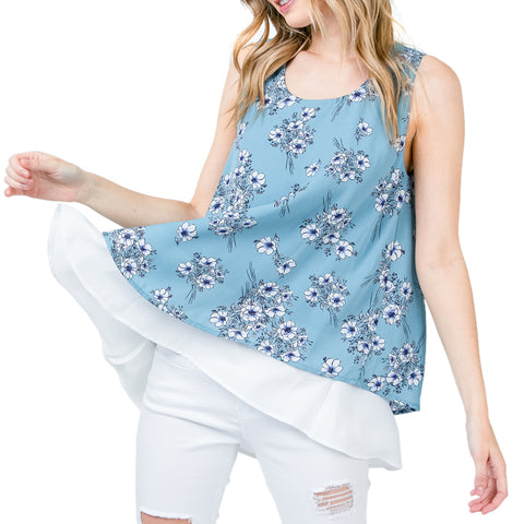 Timing Light Blue Floral Print Layered Tank Top Savvy Chic Boutique Ohio