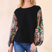 Umgee Black Bubble Puff Sleeve Sheer Floral Embroidered Top Savvy Chic Boutique Cleveland Ohio