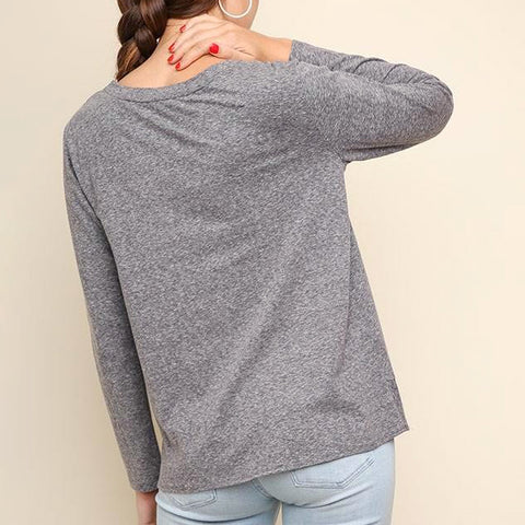 Umgee Heather Grey Twist Front Long Sleeve Tee Top Savvy Chic Boutique Cleveland Ohio