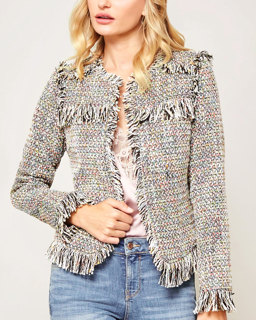 Promesa Black White Tweed Multi-Colored Rainbow Fringe Jacket Blazer Savvy Chic Boutique Cleveland Ohio