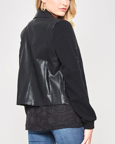 Promesa Black Faux-Leather Vegan Zip Up Jacket Cotton Sleeves Savvy Chic Boutique Cleveland Ohio