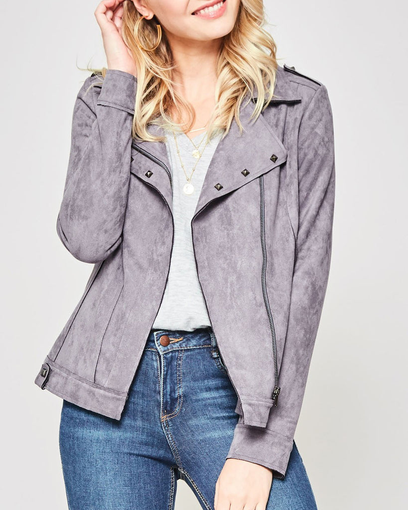 Promesa Light Grey Faux Suede Motorcycle Jacket