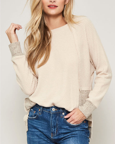 Beige Taupe Soft Waffle Knit Color Block Long Sleeve Tee Shirt Top Savvy Chic Boutique Cleveland Ohio