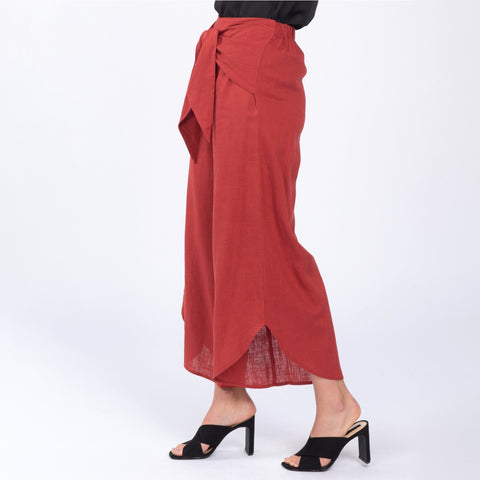Everly Berry Red Tie Cropped Wide Leg Culotte Pants Palazzo Trousers Savvy Chic Boutique Cleveland Ohio