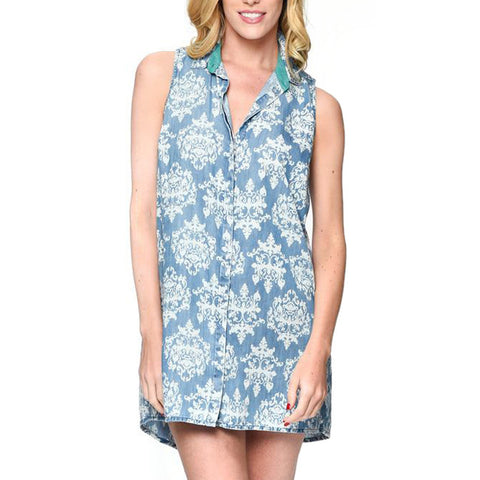 Denim Damask Print Button Down Tunic Dress