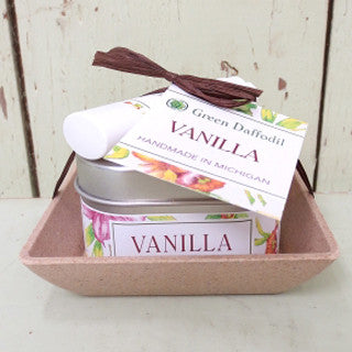 Natural Vegan Soy Candle Lip Balm Gift Set Vanilla