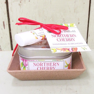 Natural Vegan Soy Lip Balm Candle Gift Set Cherry