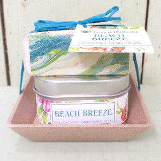 Natural Vegan Soy Candle Soap Gift Set Beach Breeze