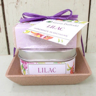 Natural Vegan Soy Candle Soap Gift Set Lilac