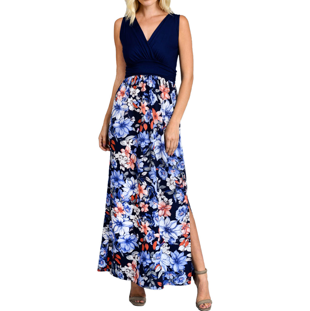 Navy Faux Wrap Tropical Floral Maxi Dress