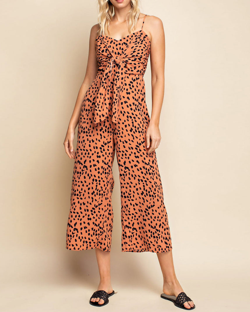 Gilli Leopard Animal Print Rust Cropped Wide Leg Tie Knot Jumpsuit Savvy Chic Boutique Cleveland Ohio