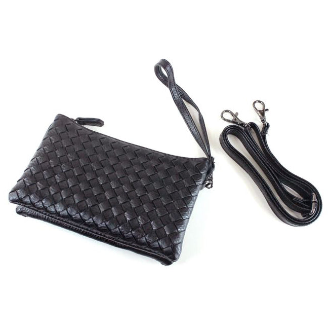Pretty Persuasions Black Faux Leather Woven Texture Crossbody Wristlet Handbag Purse Savvy Chic Boutique Ohio