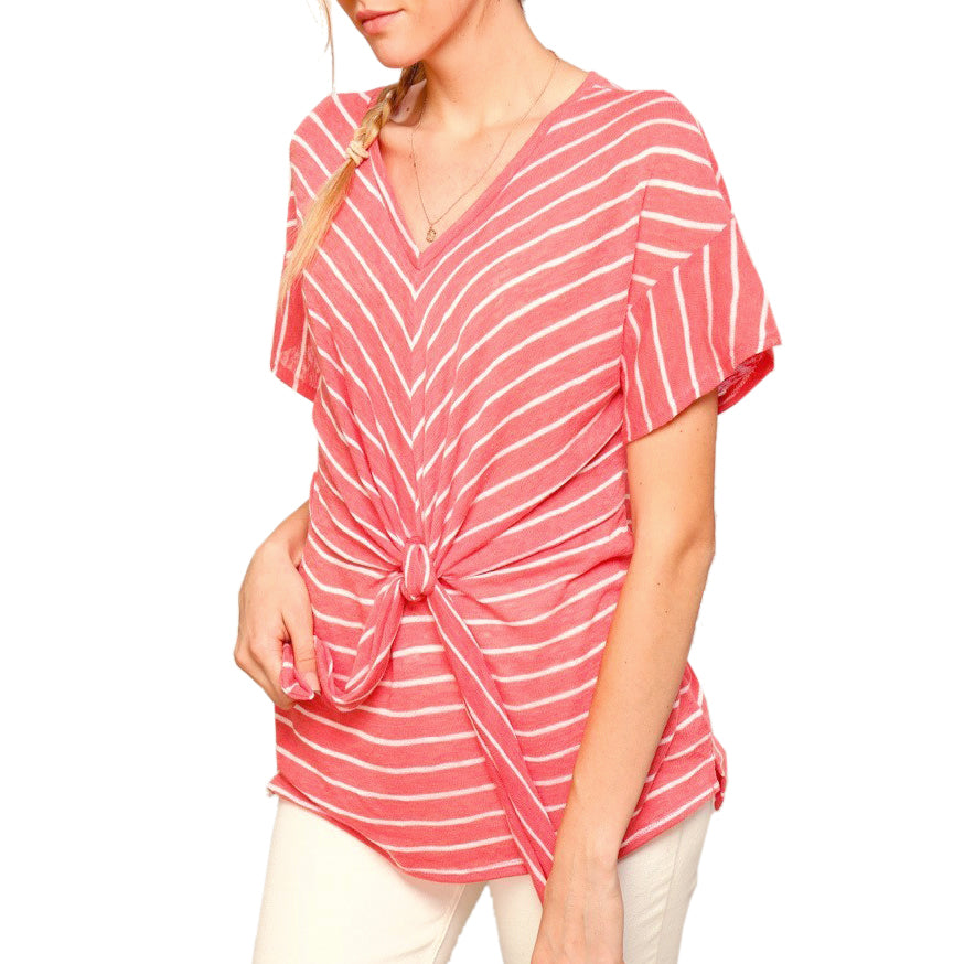 Coverstitched Coral White Stripe Knot V Neck Tee Shirt Savvy Chic Boutique Ohio