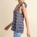 Gilli Navy Blue White Stripe Tie Sheer Tank Top Savvy Chic Boutique Cleveland Ohio