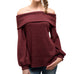 Blu Pepper Wine Burgundy Off the Shoulder Bubble Sleeve Ribbed Knit Sweater Savvy Chic Boutique Cleveland Ohio