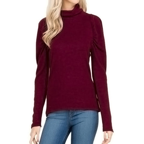 Burgundy Soft Turtleneck Sweater