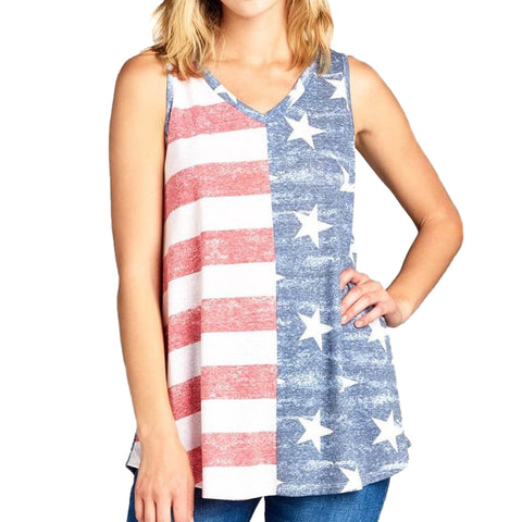 Lemon Tree USA American Flag V Neck Tank Top Red White Blue Stars Stripes Savvy Chic Boutique Cleveland Ohio