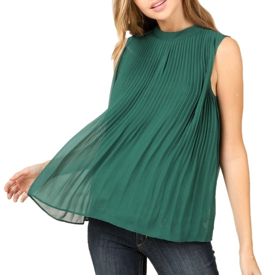 Staccato Emerald Green Pleated Sleeveless Lace Tie Back Blouse Savvy Chic Boutique Cleveland Ohio