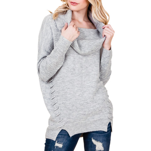 Coverstitched Light Grey Cowl Off-the-Shoulder Knit Stitch Sweater Savvy Chic Boutique Cleveland Ohio