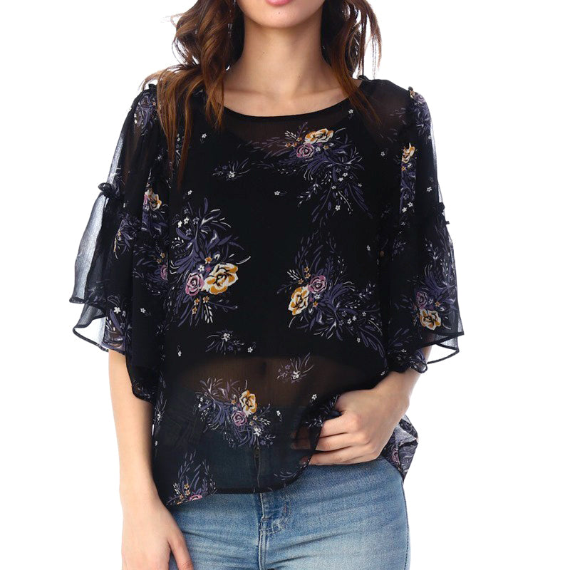 Coverstiched Black Sheer Floral Print Flutter Sleeve Top Savvy Chic Boutique Ohio