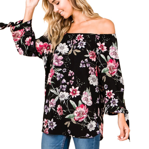 Timing Misia Black Pink Floral Print Off Shoulder Tie Sleeve Blouse Top Savvy Chic Boutique Cleveland Ohio