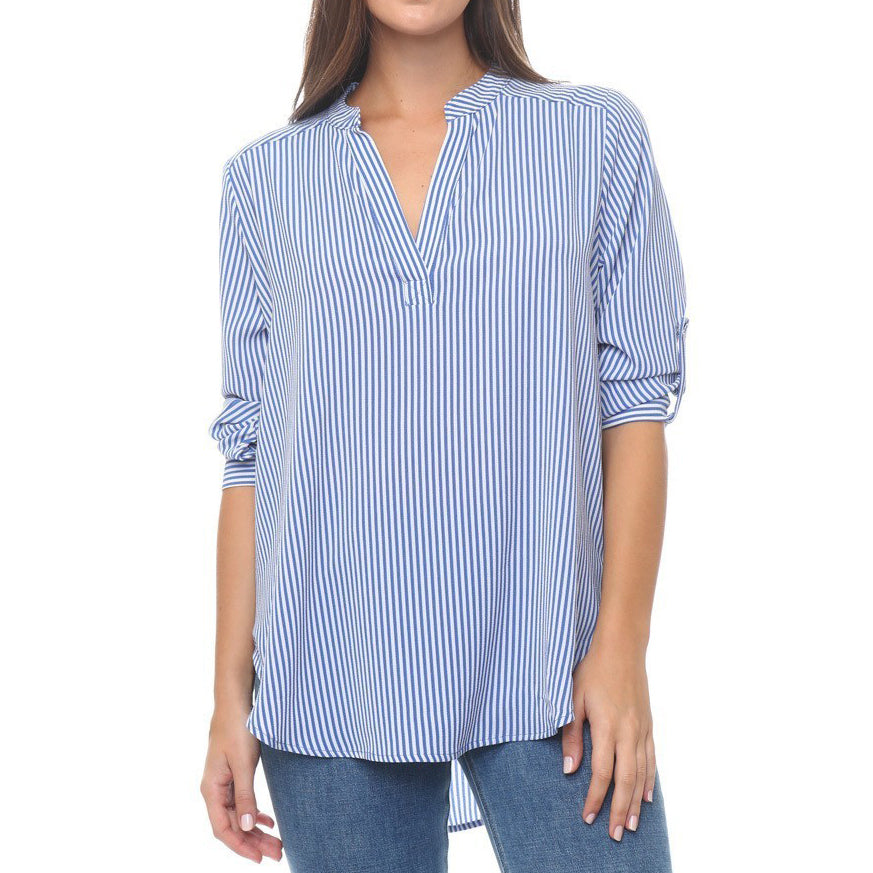 Timing Blue White Stripe V Neck Shirt
