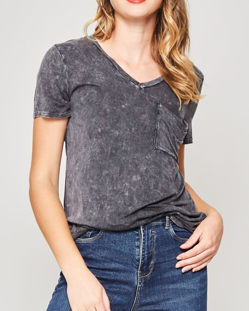 Promesa Charcoal Grey Weathered Washed Distressed V Neck Tee T shirt Top Savvy Chic Boutique Cleveland Ohio